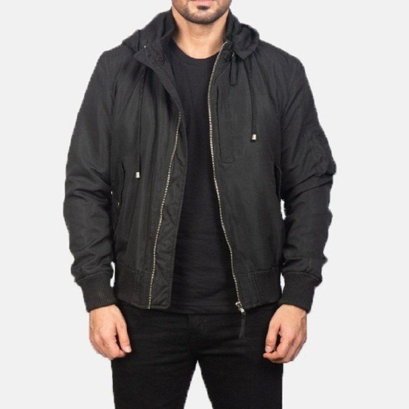 Men's+Black+Hooded+Bomber+Jacket
