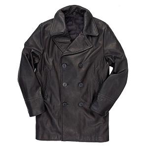Black Leather Pea Coat