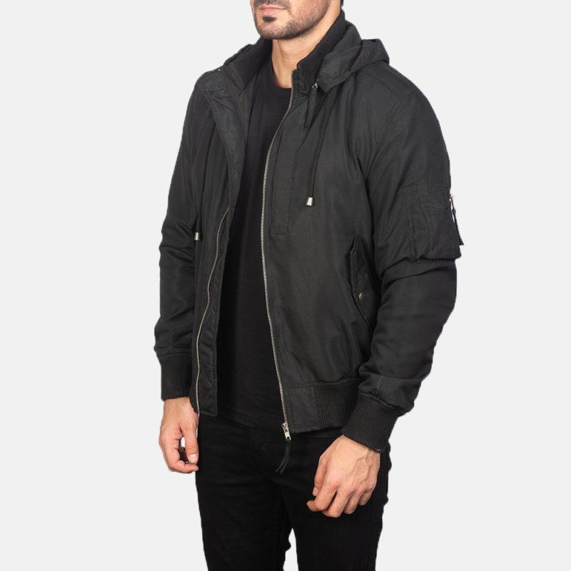 Black+Hooded+Bomber+Jacket