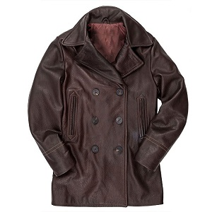 Brown Leather Pea Coat