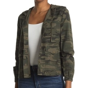 Camo Print Hooded Snap Front Utility Jacket