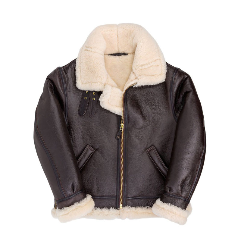 Hooded-Sheepskin-Bomber-Brown-Front-Closed