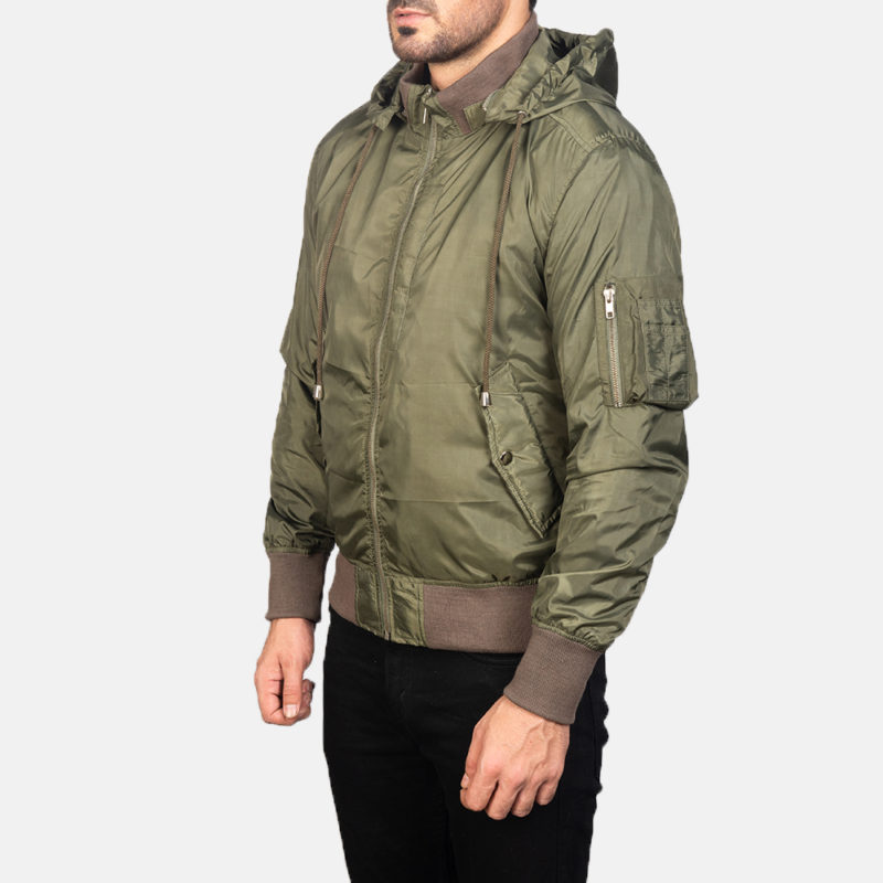 Men's Green Hooded Bomber Jacket