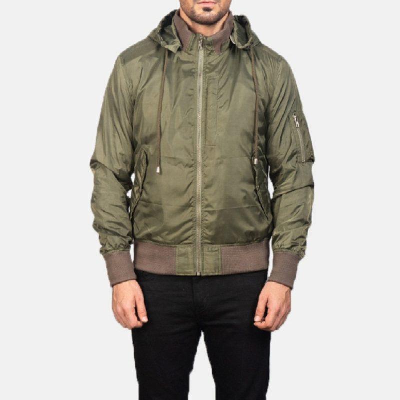Men's+Hanklin+Ma-1's+Green+Hooded+Bomber+Jacket