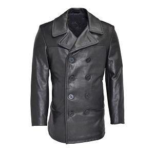 Slim Fit Leather Naval Pea Coat