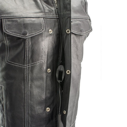 Black Leather Motorcycle Vest with White