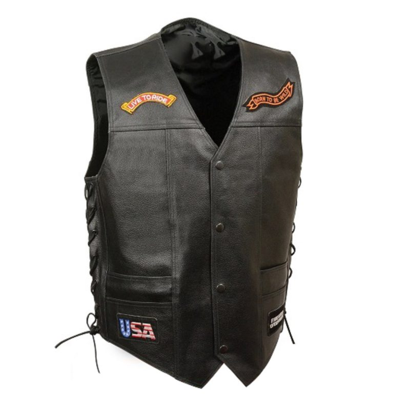 Black-Leather-Side-Lace-Live-to-Ride-Pre-Patched-Vest
