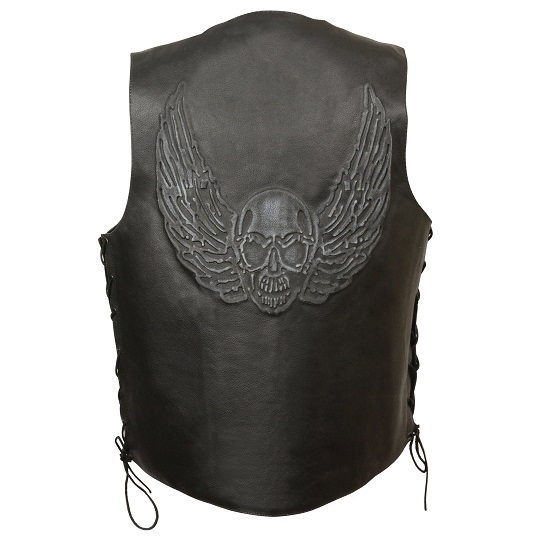 Black Leather Side Lace Vest with Winged Skull Emboss
