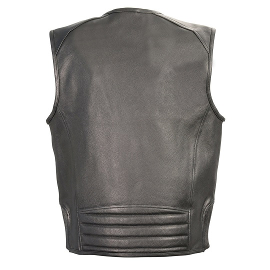 Black Leather Vest with Side Stretch Flex and Gun Pockets