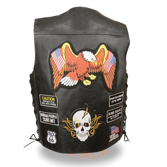 Black Leather Vest with eAGLE AND SKULL Patches