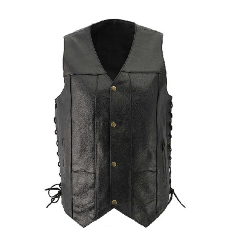Black-Side-Laced-Classic-Leather-Vest