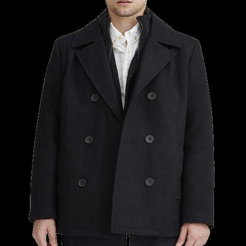 Classic Men's Navy Blue Wool Pea Coat