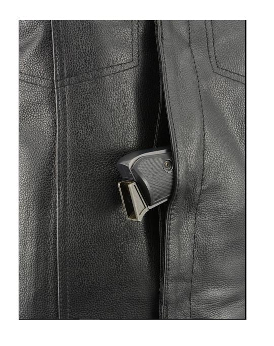 Cowhide Leather Vest with Concealed Gun Pocket