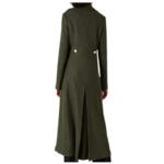Womens Green Long Military Coat