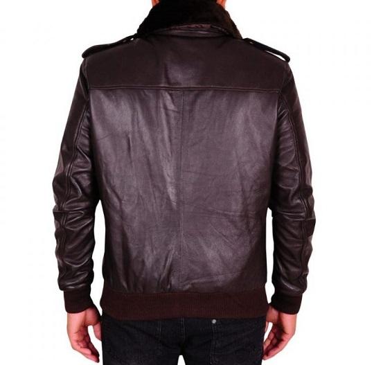 Men Dark Brown Fur Leather Jacket-