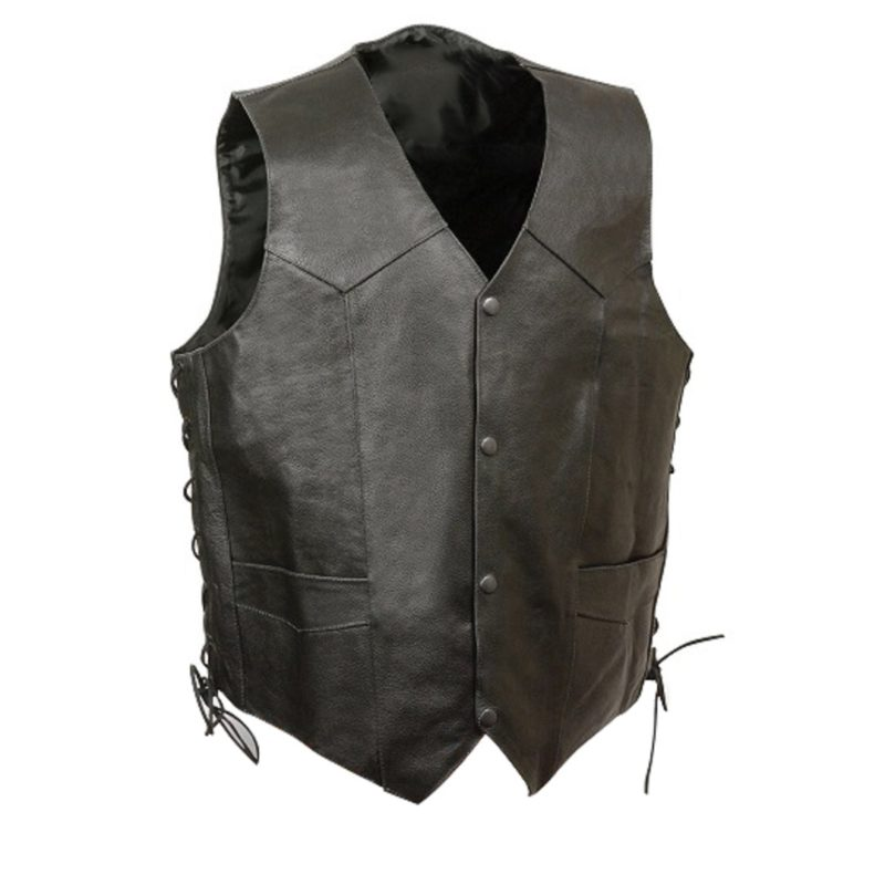 Mens-Black-Leather-Side-Lace-Vest-with-Winged-Skull-Emboss