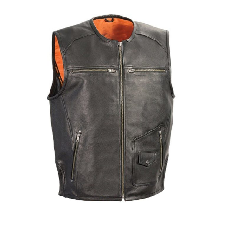 Mens-Black-Leather-Vest-with-Side-Stretch-Flex-and-Gun-Pockets