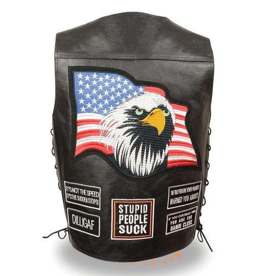 Men's 'Eagle and Flag Pre-Patched' Black Leather Side Lace Vest