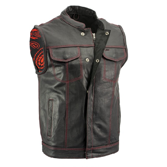 Men's 'Paisley' Black Leather Motorcycle Vest with Red Stitching