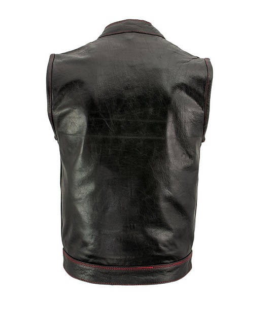 Paisley Black Leather Motorcycle Vest with Red Stitching