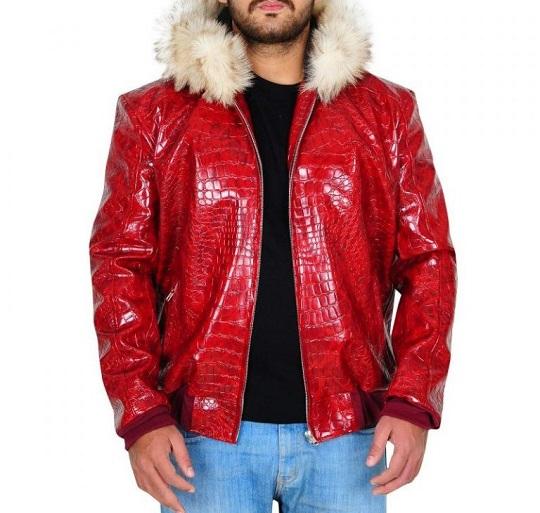 Red-crocodile-leather-jacket