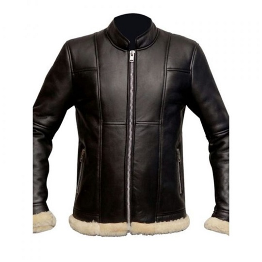 Slimfit-Shearling-Biker-Black-Jacket