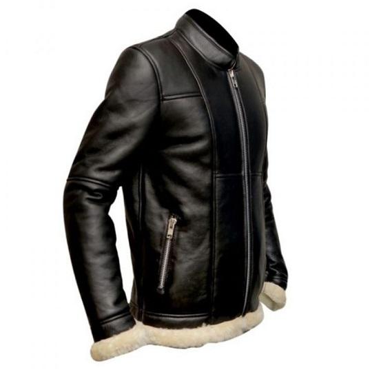 Slimfit-Shearling-Biker-Black-Leather-Jacket