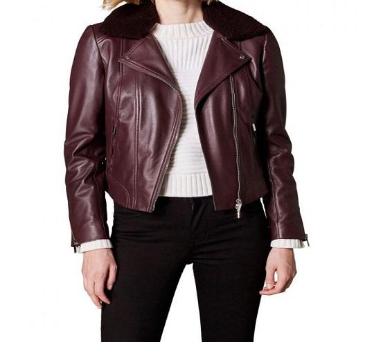 Women-Brown-Fur-Collar-Leather-Jacket