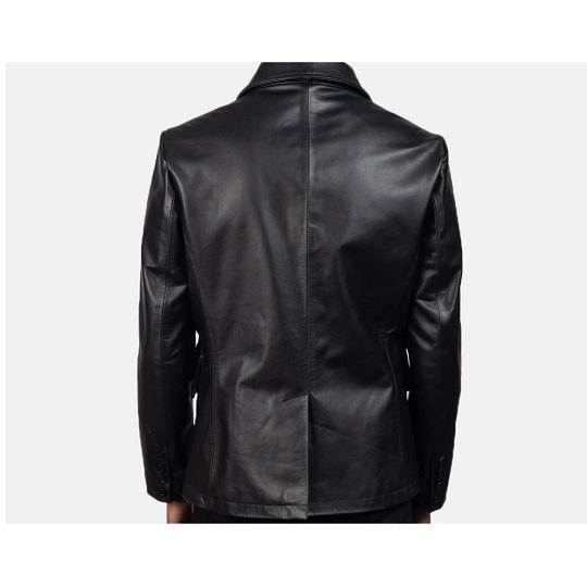 Black-Leather-Naval-Short-Peacoat-