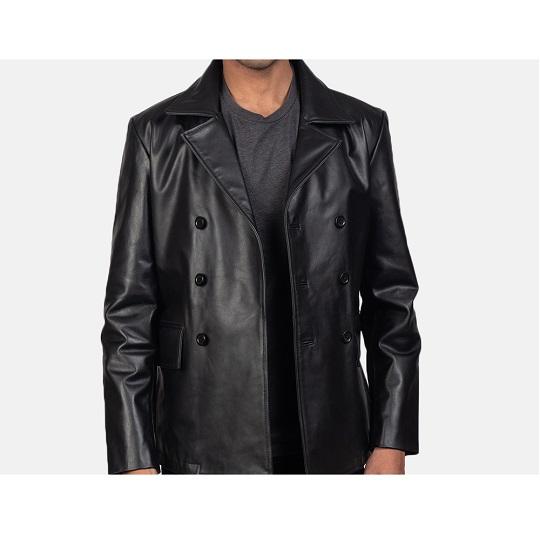 Black-Leather-Naval-Short-Peacoat