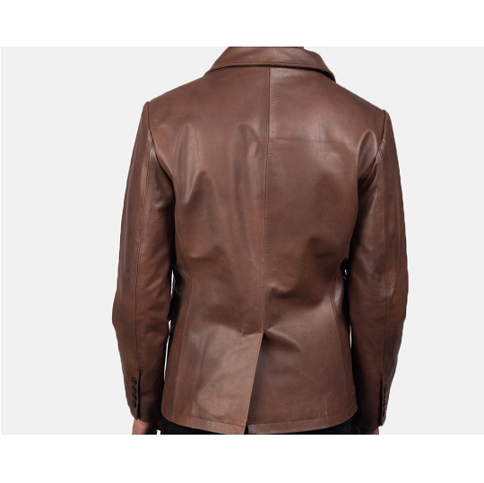 Brown-Leather-Naval-Short-Peacoat-