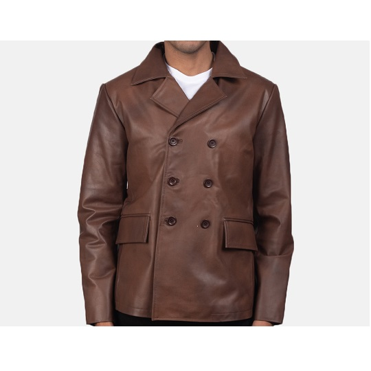 Brown-Leather-Naval-Short-Peacoat.