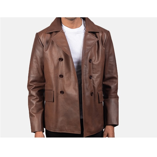 Brown-Leather-Naval-Short-Peacoat