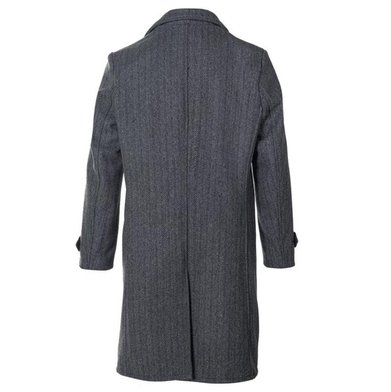 Herringbone Wool Blend Overcoat-