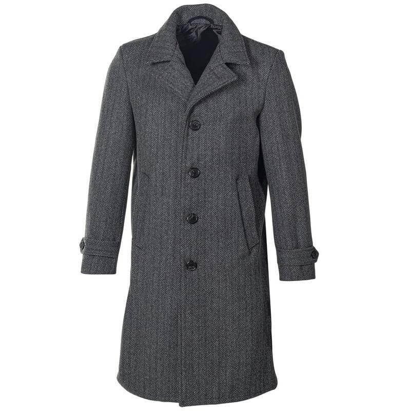 Herringbone Wool Blend Overcoat