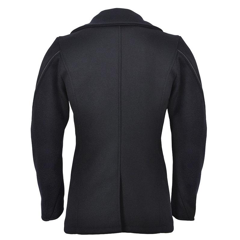 Leather Trim Navy Peacoat-