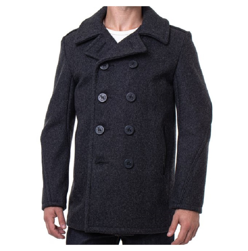 Leather Trim Peacoat Grey-