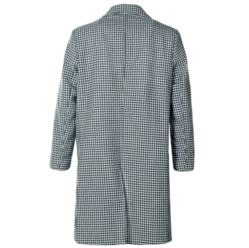 Long Houndstooth Wool Peacoat-