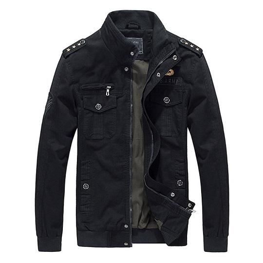 Men Casual Military Outdoor Black Field jacket-