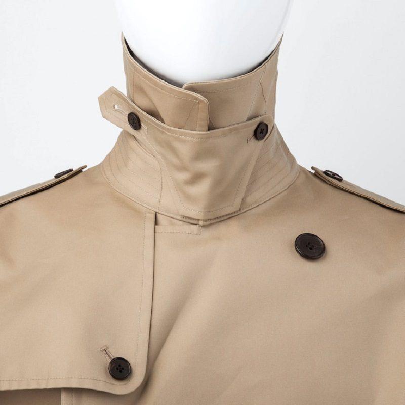 Mens Beige Cotton Long Trench Coat-
