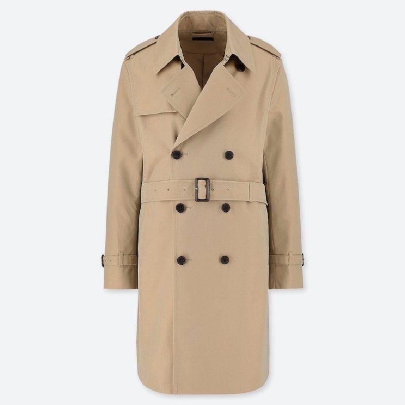 Mens Beige Cotton Long Trench Coat