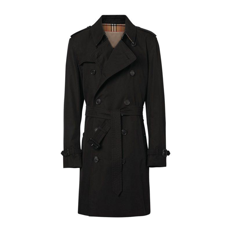 Mens Black Mid-Length Trench Coat-