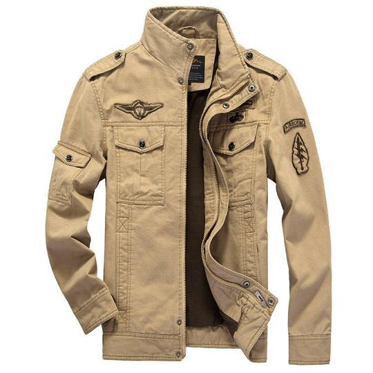 Mens Casual Khaki Cotton Militray Badge Field Jacket