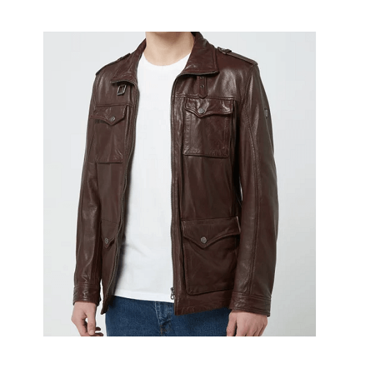 Mens Classic Chocolate Brown Field Jacket-