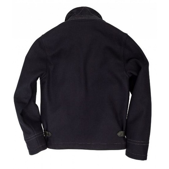 Mens Classic Navy Blue Quilt Lining Suede Leather Jacket-