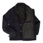 Mens Classic Navy Blue Quilt Lining Suede Leather Jacket