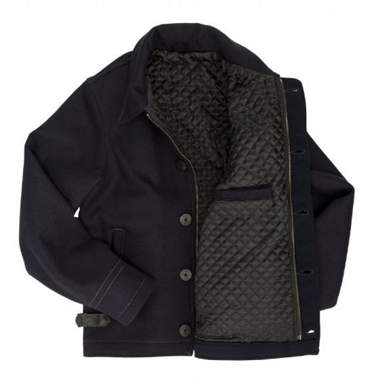 Mens Classic Navy Blue Quilt Lining Suede Leather Jackets