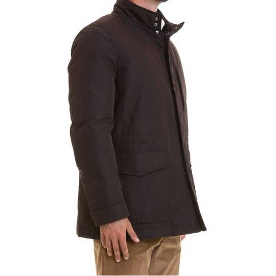 Mens Classic Purple Stand-up Cotton Field Jackets-