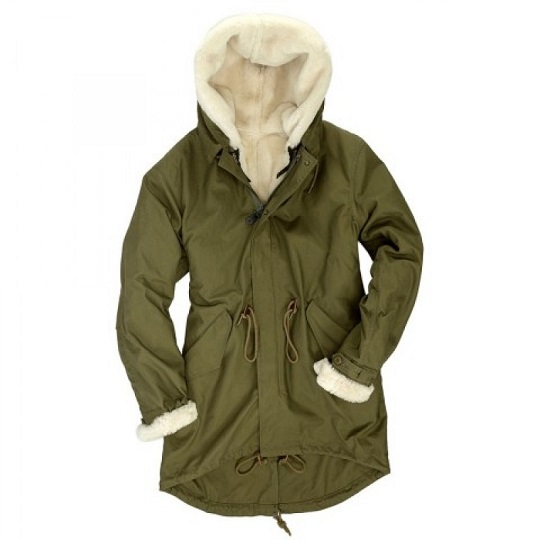Mens Fishtail Parka Olive Green Shearling Wool Lined Jacket