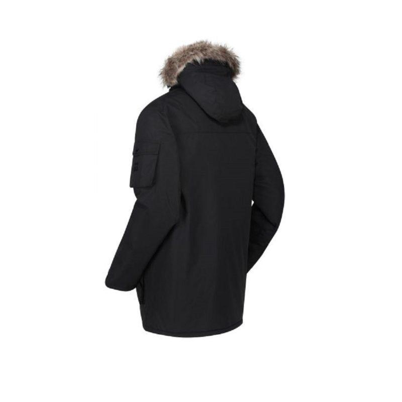 Men's Fur Trimmed Black Parka Jacket-